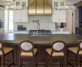 custom home kitchen long counter