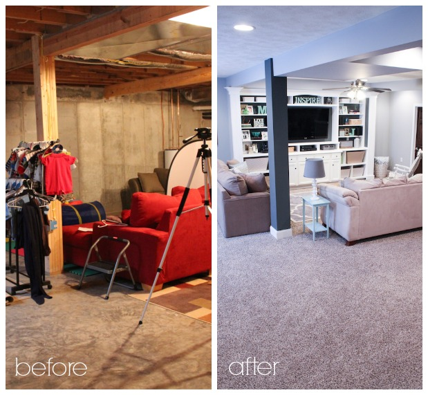 Finished Basement Ideas: 10 Inspirational Basement Remodels! Before And After