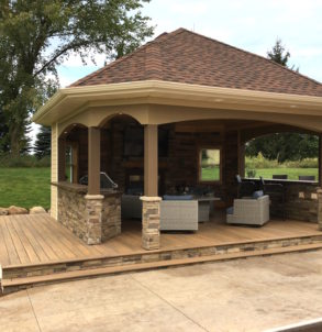 outdoor kitchen brick and deck