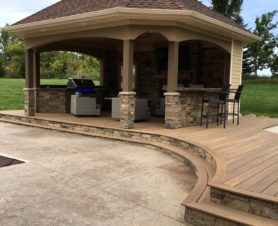 outdoor patio kitchen and deck