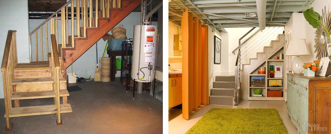 before and after basement remodel storage