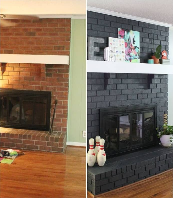 basement remodel before and after painting a fireplace