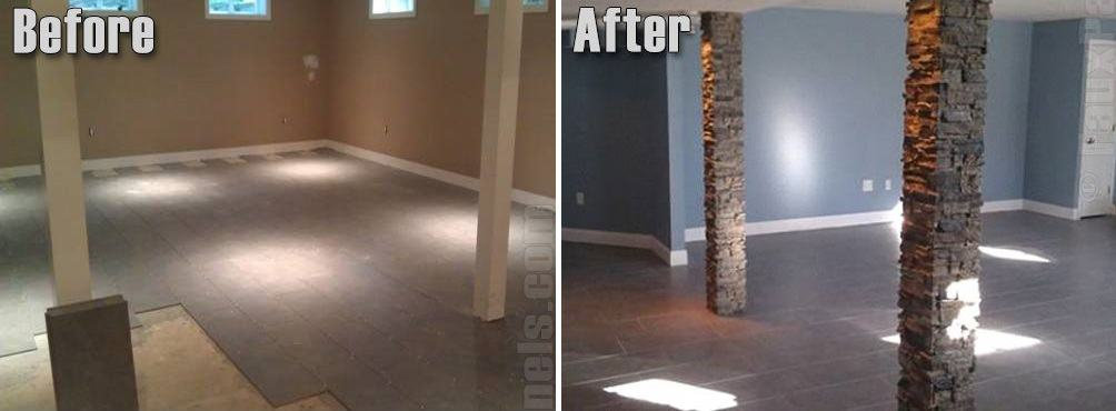 basement remodel before and after pillars