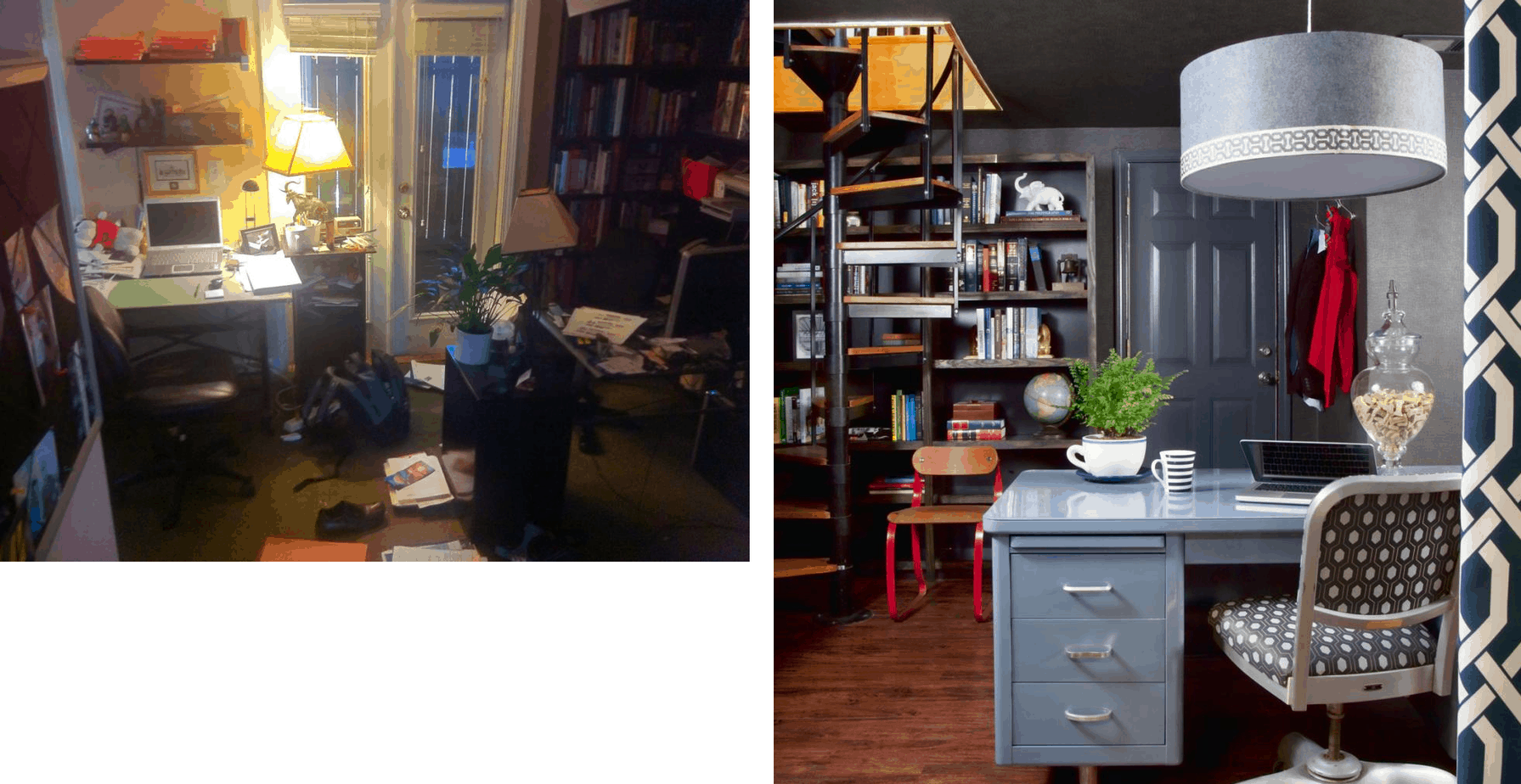 Before and after office remodel