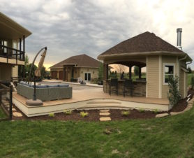 outdoor kitchen and deck patio home remodel