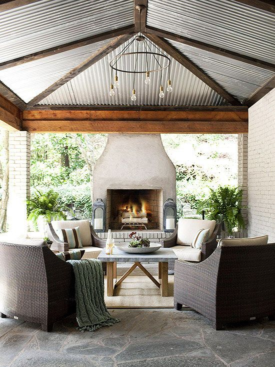 outdoor living space ideas metal roofing