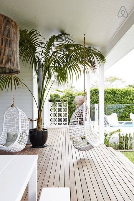 outdoor living space ideas swinging chair