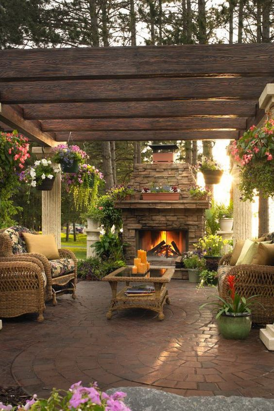 Outdoor living space ideas fireplace garden