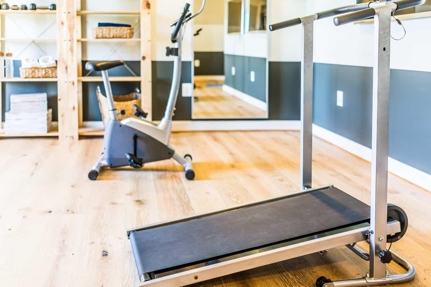 finished basement home gym