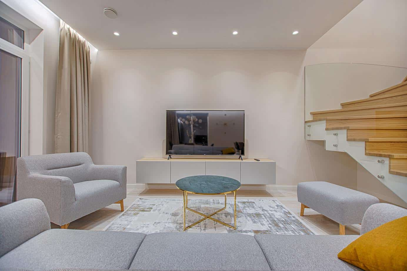 basement area rug, living space, home theater